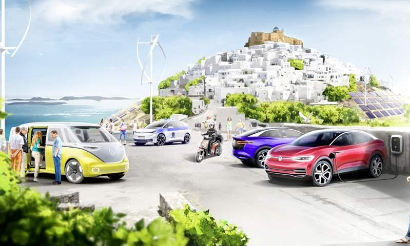 الخيال يصبح حقيقة.. فولكس فاجن تحول جزيرة يونانية إلى موطن للسيارات الكهربائية!