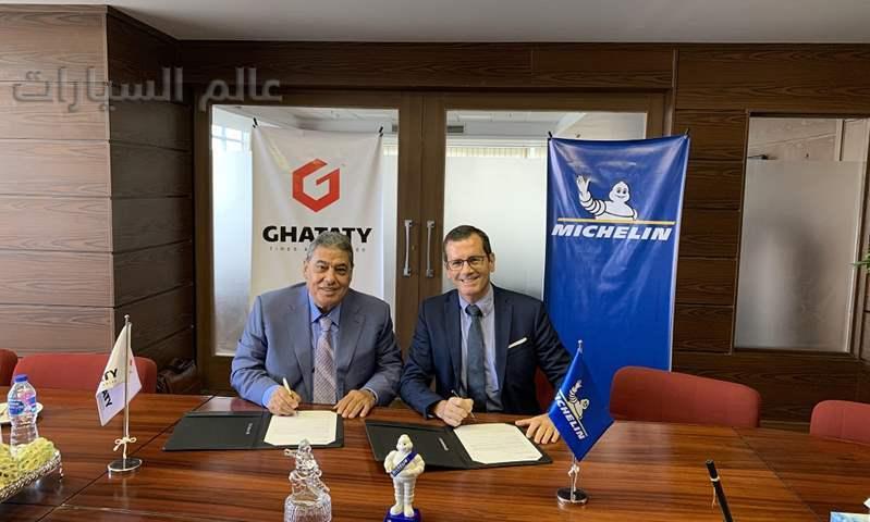 على اليسار: السيد ممدوح غطاطي، رئيس مجلس إدارة مجموعة غطاطي    على اليمين: مارك باسكيه، رئيس شركة ميشلان في منطقة أفريقيا والهند والشرق الأوسط