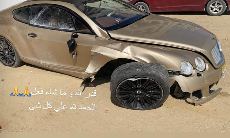 محمود كهربا لاعب النادي الأهلي يتعرض لحادث سير