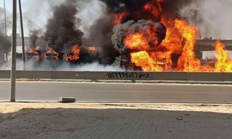 وزارة البترول تنفي علاقتها بالسيارة التي تسببت في الحريق أعلى دائري المعادي